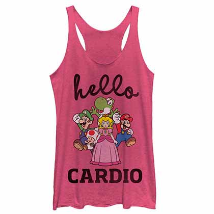 Mario Nintendo Hello Cardio Pink  Juniors Tank Top