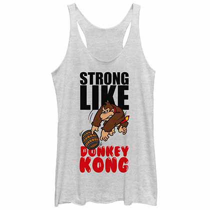 Mario Nintendo Strong Like Kong White  Juniors Tank Top