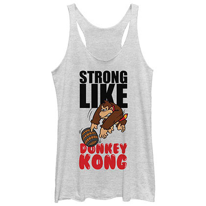 Nintendo Strong Like Kong White Juniors Tank Top