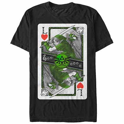 Legend Of Zelda Nintendo Link Card Black T-Shirt