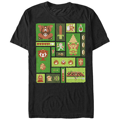 Nintendo Pixel Collage Black T-Shirt