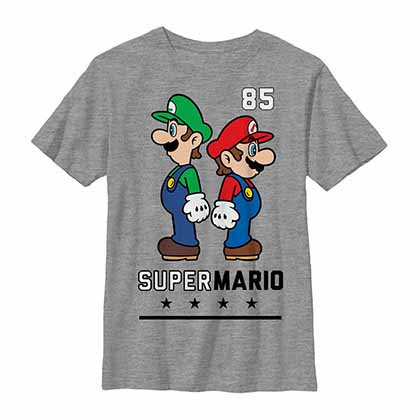 Mario Nintendo Back To Back Gray Unisex Youth T-Shirt