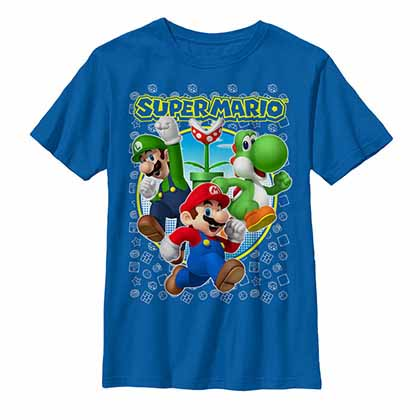 Mario Nintendo Super Three Blue Unisex Youth T-Shirt