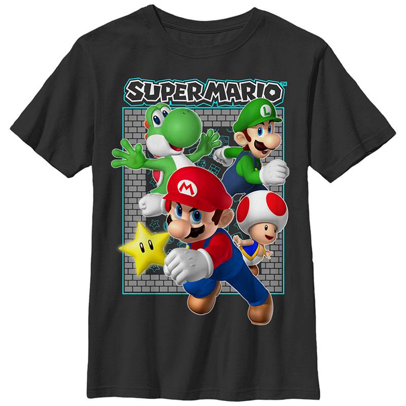 Nintendo Mario Brick Frame Black Unisex Youth T-Shirt