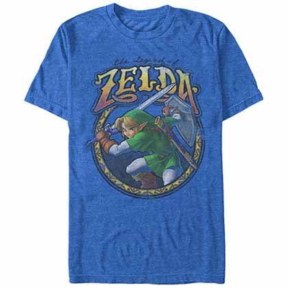 Legend Of Zelda Nintendo Groove Link Blue  T-Shirt