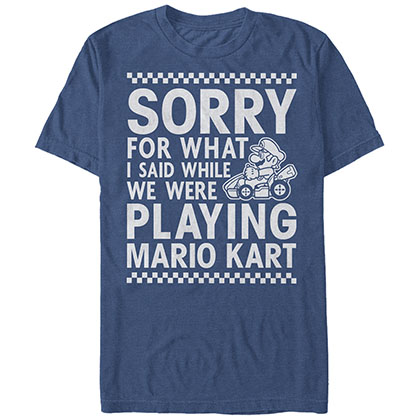 Nintendo Playing Mariokart Blue T-Shirt