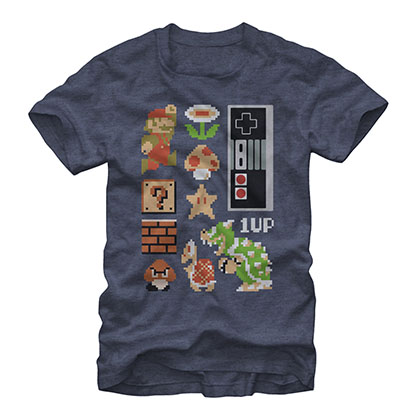 Nintendo Mario Retro Set Blue T-Shirt