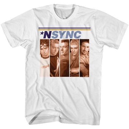 NSYNC Lineup Boxes White Tshirt