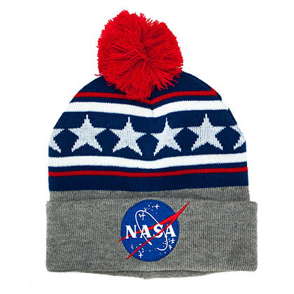 NASA Red White And Blue Pom Beanie