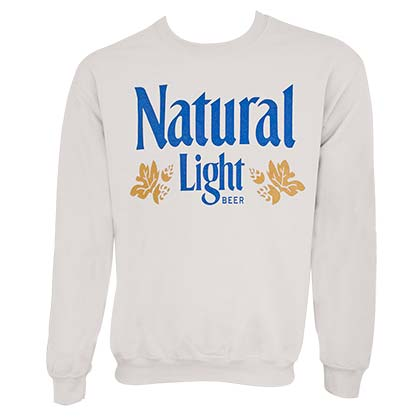 Natural Light Men s Vintage Logo Off-White Crewneck Sweatshirt 03835a0be2c5