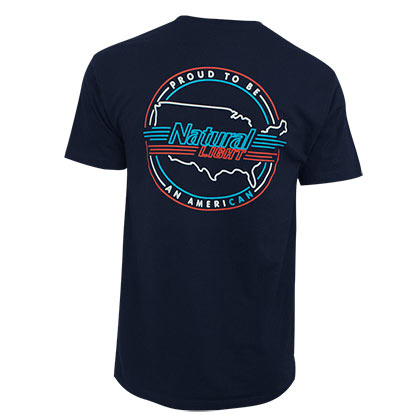 Natural Light Proud To Be An American Navy Blue Pocket Tee Shirt