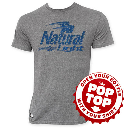 Natural Light Pop Top Bottle Opener Blue Logo Tee Shirt