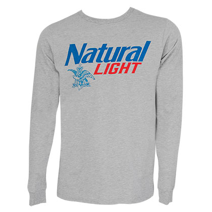 788857f8 Natural Light Men's Grey Logo Long Sleeve T-Shirt