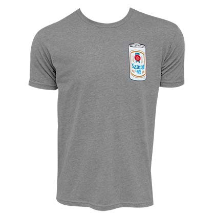 Natty Light Men's Grey Rowdy Gentleman Can Logo T-Shirt
