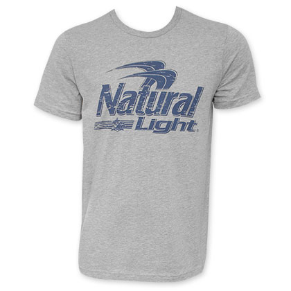 Natural Light Distressed Blue Logo Grey Tee Shirt