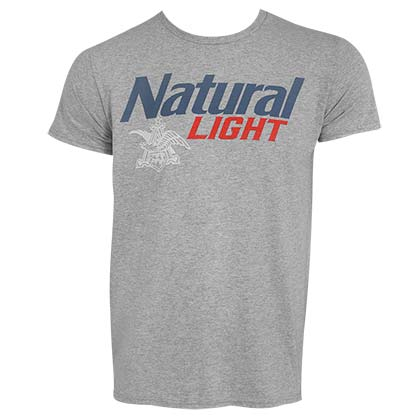 Natural Light Men's Grey Classic Logo T-Shirt