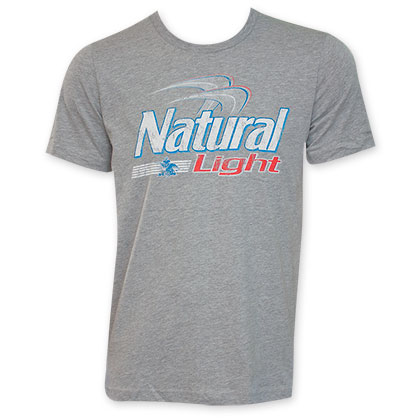 Natural Light Men's Grey Logo Tee Shirt