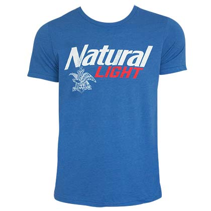 Natural Light Logo Men's Heather Blue Tee Shirt