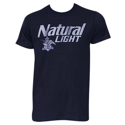 Natural Light Men's Navy Blue Faded Logo T-Shirt