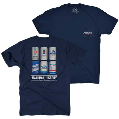 Natty Light Natural History Rowdy Gentleman Dark Blue Men's Tee Shirt
