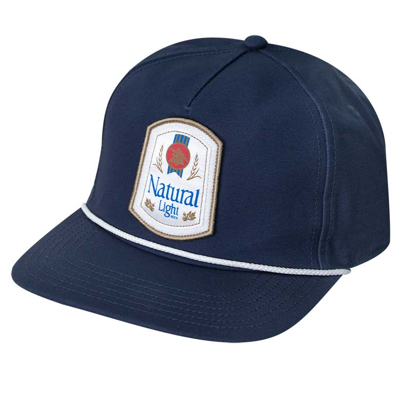 Natural Light Retro Label Rowdy Gentleman Navy Blue Snapback Hat