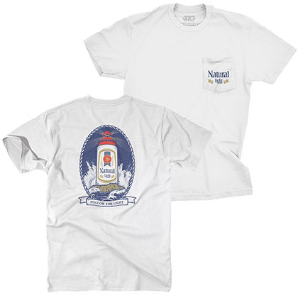 Natural Light Lighthouse Chest Pocket White Tshirt