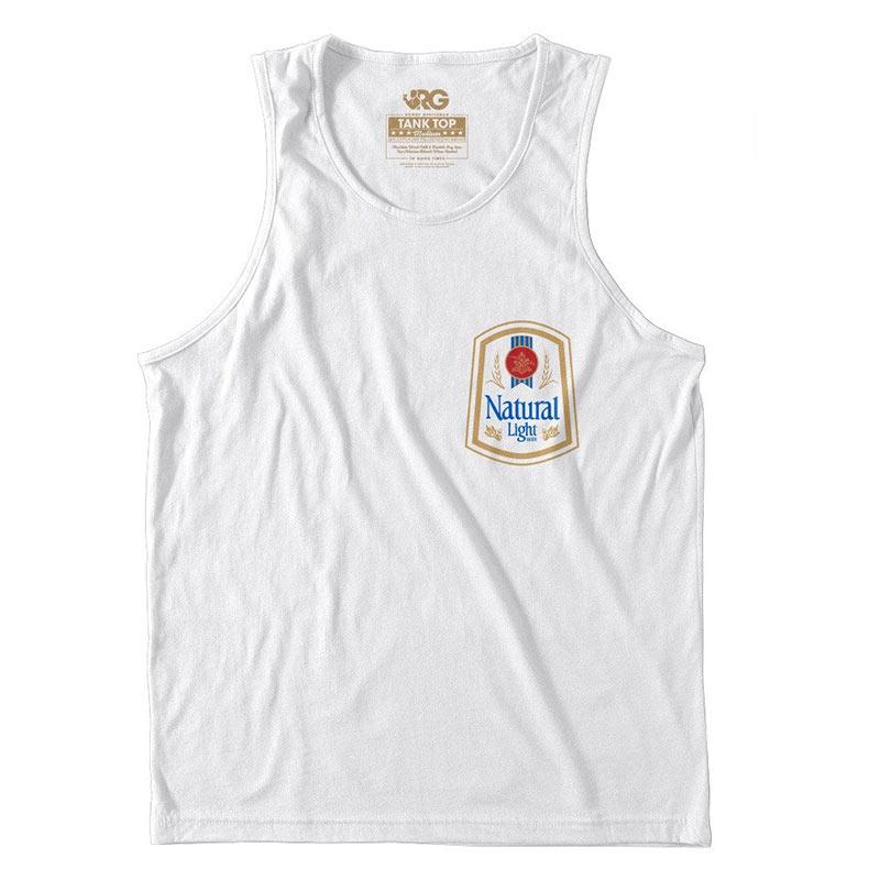 Natural Light Men's White Mini Logo Rowdy Gentleman Tank Top