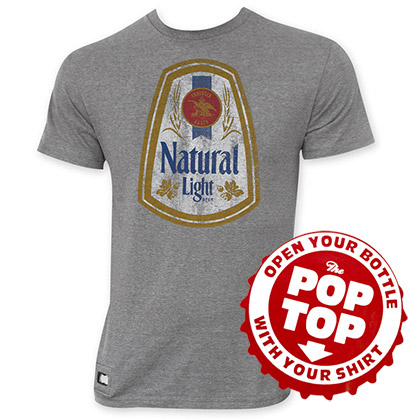 Natural Light Men's Gray Vintage Logo Pop Top Bottle Opener T-Shirt