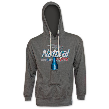 Natty Light Logo Beer Pouch Hoodie Grey