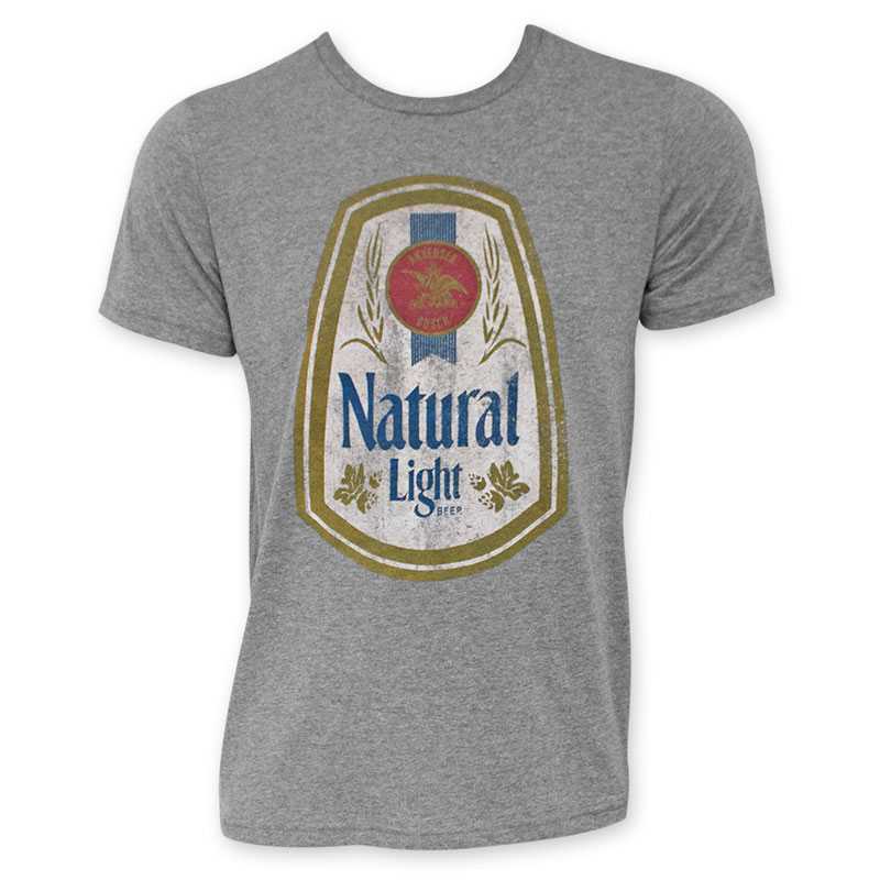 Natural Light Beer Label Grey Tee Shirt