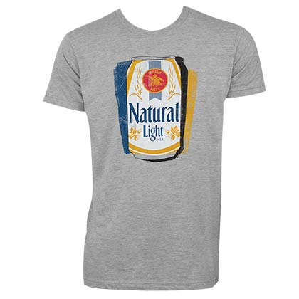 Natural Light Men's Grey Shadow Can T-Shirt