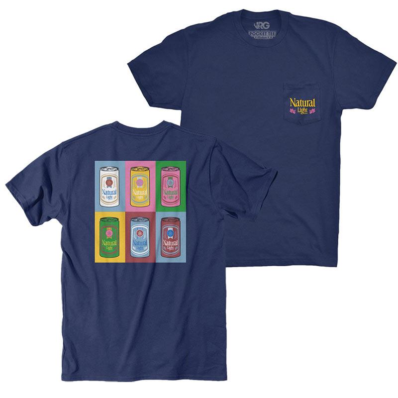 Natty Light Warhol Rowdy Gentleman Navy Blue Tee Shirt