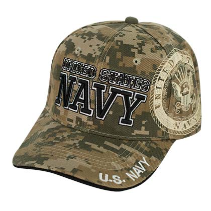 Navy Curved Bill Camo Hat