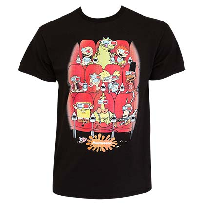 Nickelodeon 90's Men's Black Nicktoon Movie Theater T-Shirt
