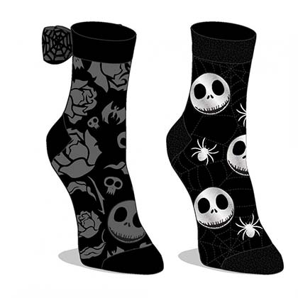 Nightmare Before Christmas 2-Pack Black And Grey Socks