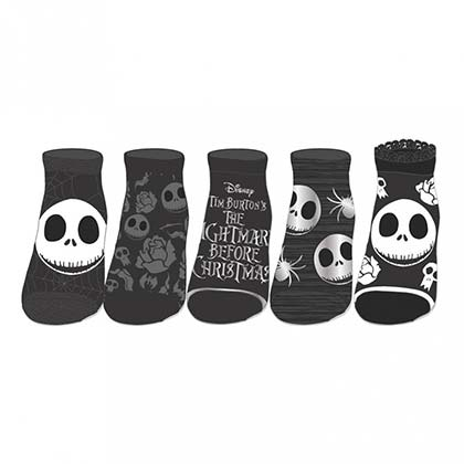 Nightmare Before Christmas 5-Pack Black And Grey Ankle Socks
