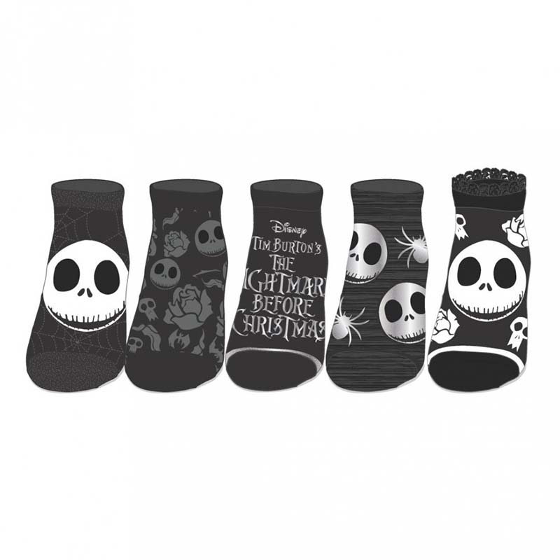 nightmare before christmas 5 pack black and grey ankle socks
