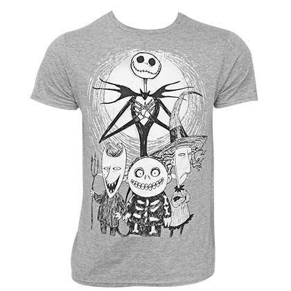 Nightmare Before Christmas Men's Grey Characters T-Shirt