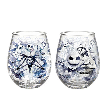 Nightmare Before Christmas Stemless 20 Ounce Wine Glass Two Piece Set