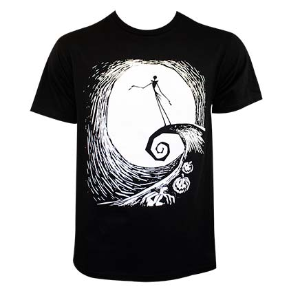 Nightmare Before Christmas Men's Black Swirl T-Shirt