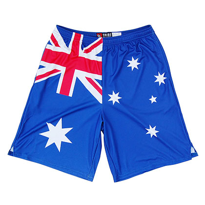 Australian Flag Sublimated Blue Lacrosse Shorts