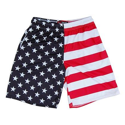 American Flag Vertical Men's Sublimated Lacrosse Shorts