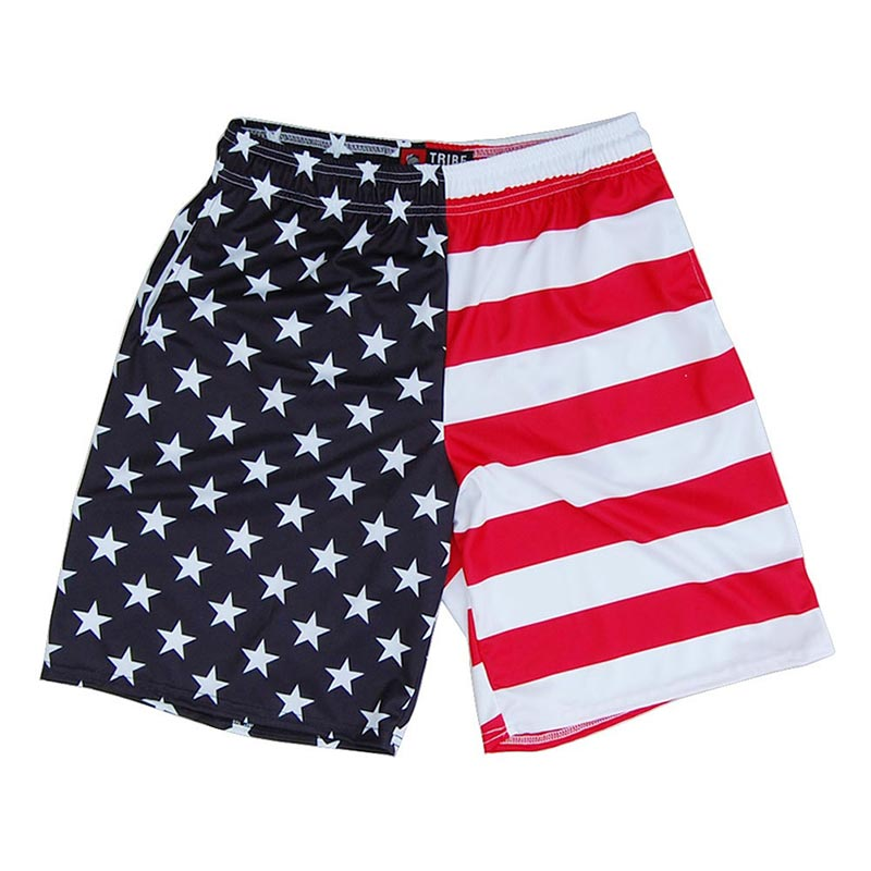American Flag Sublimated Vertical Split Lacrosse Shorts