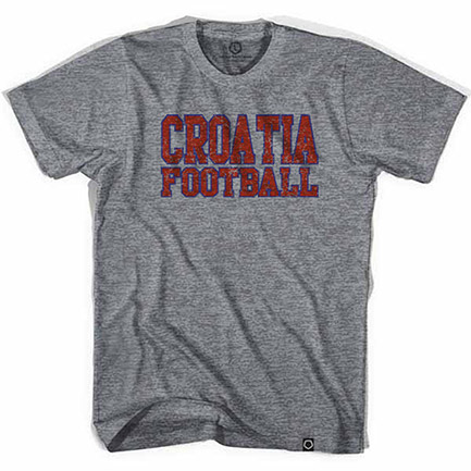 Retro Grey Croatia Football Tee Shirt