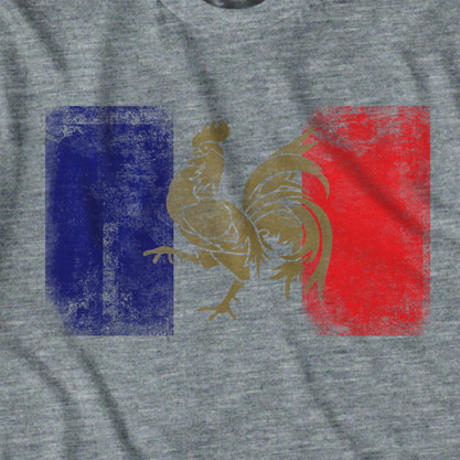 Retro Grey France Flag Soccer Tee Shirt