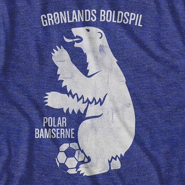Men's Blue Greenland Gronlands Boldspil Soccer T-Shirt