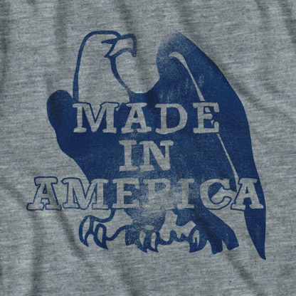 Grey Made In America Eagle Tee Shirt