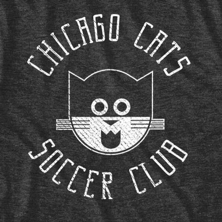 Black Chicago Cats Soccer Team T-Shirt
