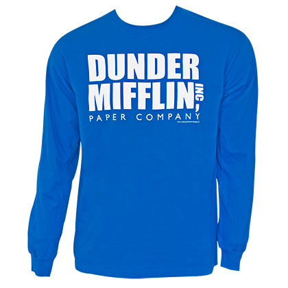 The Office Dunder Mifflin Long Sleeve Blue Tee Shirt