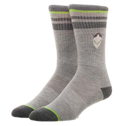 Overwatch Embroidered Genji Men's Gray Crew Socks